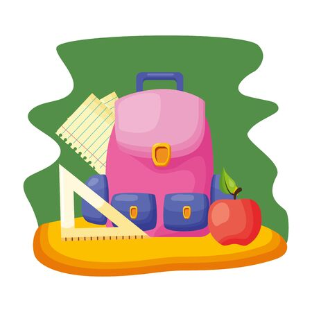 rucksack triangle ruler apple sheets regreso a clases vector illustration