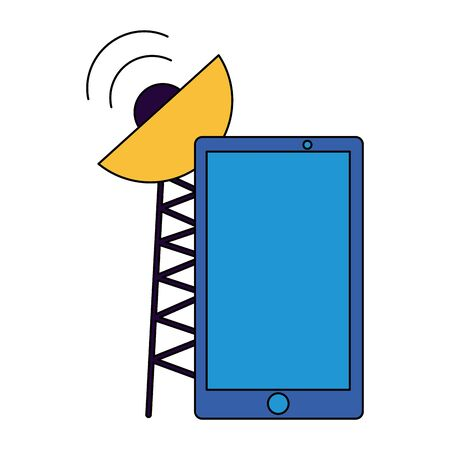 smartphone antenna signal sensor on white background vector illustration