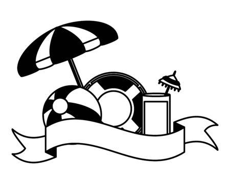 summer time holiday umbrella beachball float cocktail vector illustration Illustration