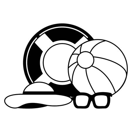 summer time holiday lifebuoy ball sunglasses hat  vector illustration