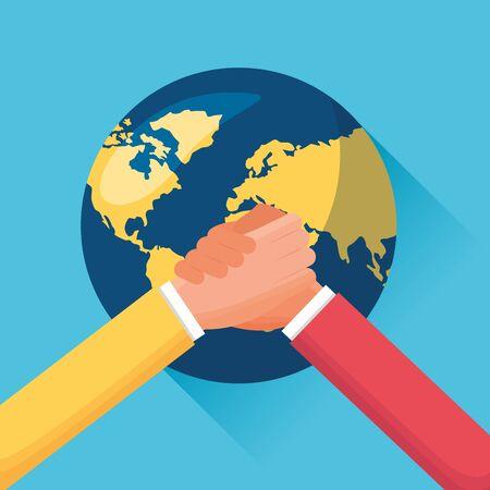people business handshake world success vector illustration