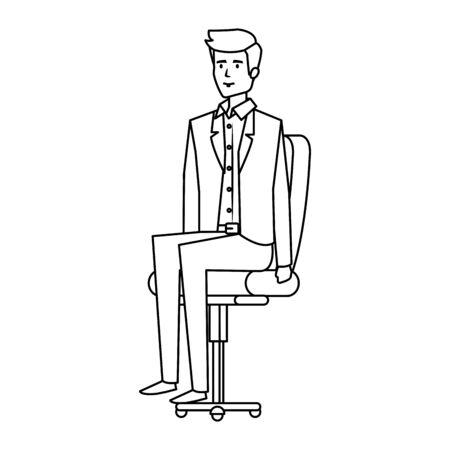 elegant businessman sitting in office chair vector illustration design Ilustração