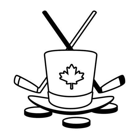hat hocket sticks and pucks happy canada day vector illustration Illusztráció