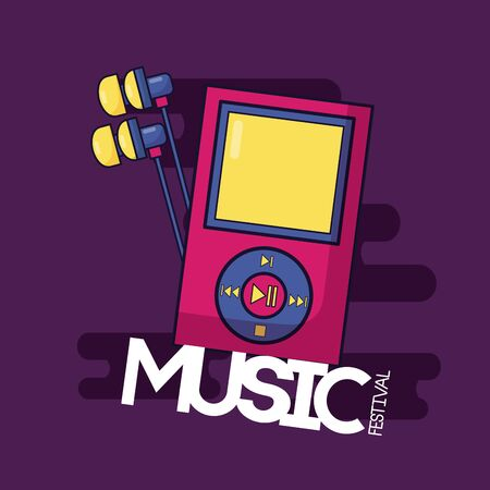 mp3 earphones music festival background vector illustration