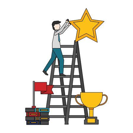 businessman on ladder star trophy books vector illustration