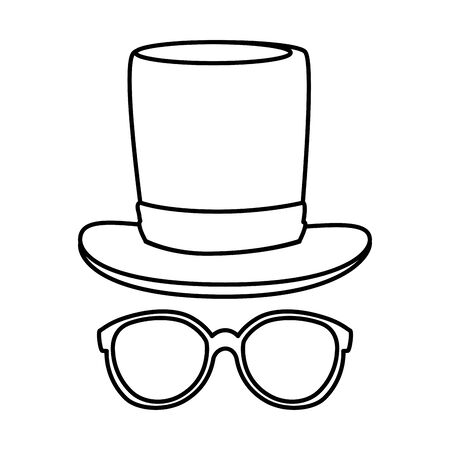 eyeglasses with tophat hipster style vector illustration design