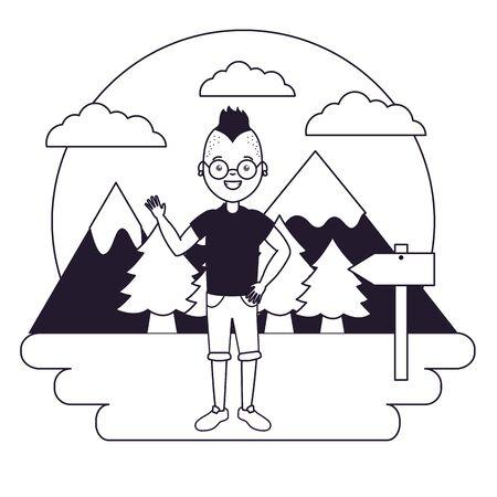 man camping forest vacations mountians vector illustration Illusztráció