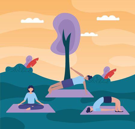 city park yoga outdoor women flexing body doing exercises vector illustration