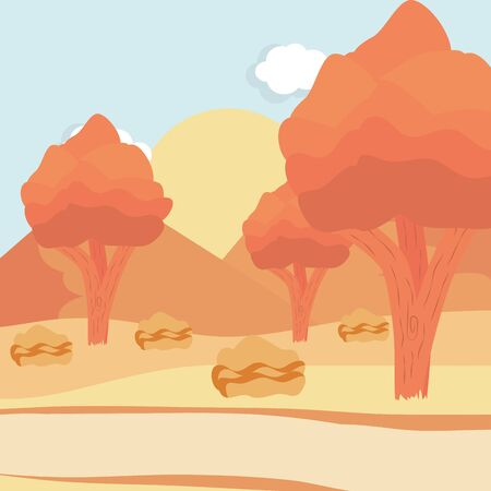 landscape tree sun sky path design vector illustration