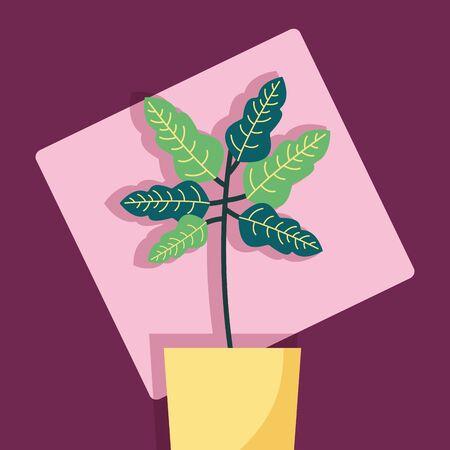 decorative plants green leaves branch vector illustration