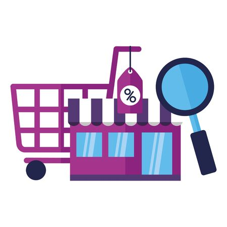 online shopping ecommerce cart market discount analysis vector illustration Ilustracja