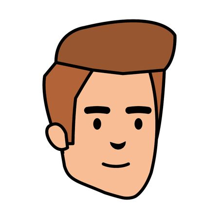young and casual man head character vector illustration design