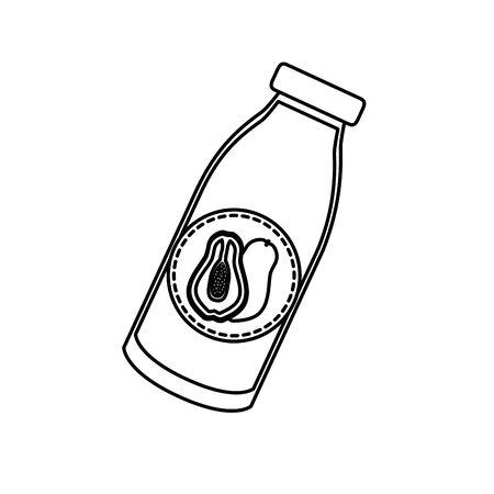 papaya juice bottle tropical fruits design vector illustration Illustration
