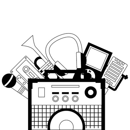 Tonverstärker Mikrofon Trompete Kassette Kopfhörer Festival Musik Vector Illustration