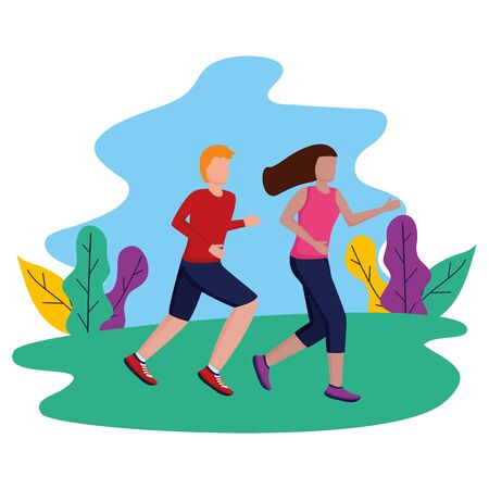 couple running activity in the outdoors vector illustration Foto de archivo - 130133939