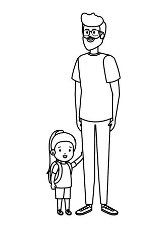father with daughter characters vector illustration design Иллюстрация