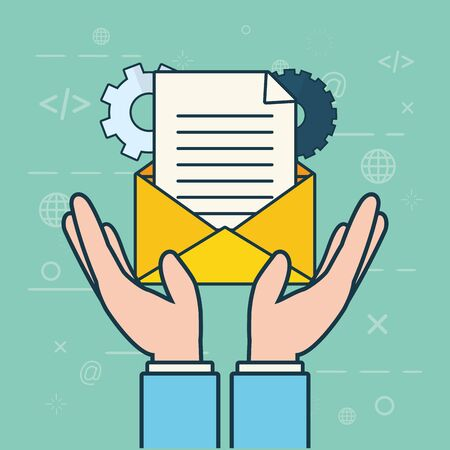 hands with envelope settings send email vector illustration 일러스트