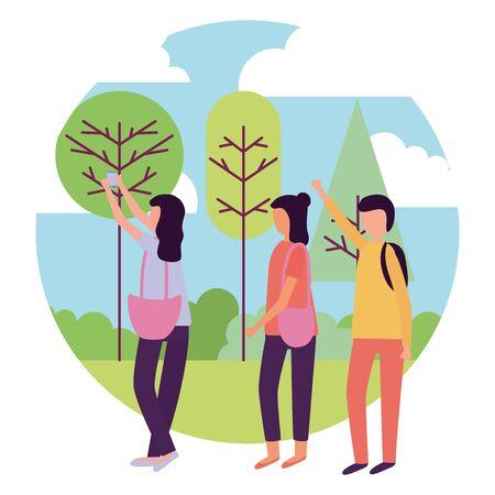man and women smartphone activities outdoors vector illustration