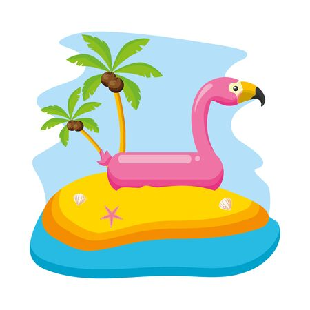 summer time beach flamingo float palms vector illustration