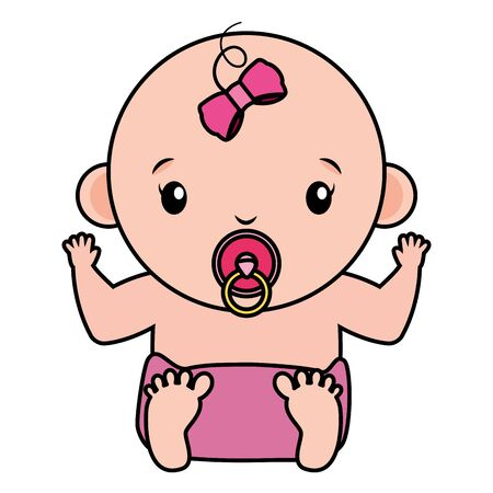 cute little baby girl character vector illustration design Archivio Fotografico - 130133886