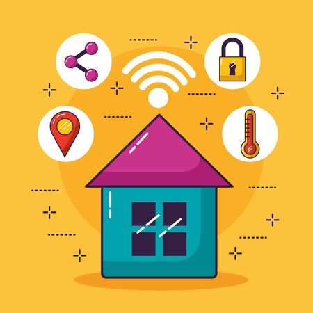 smart house share location temperature security wifi free connection vector illustration