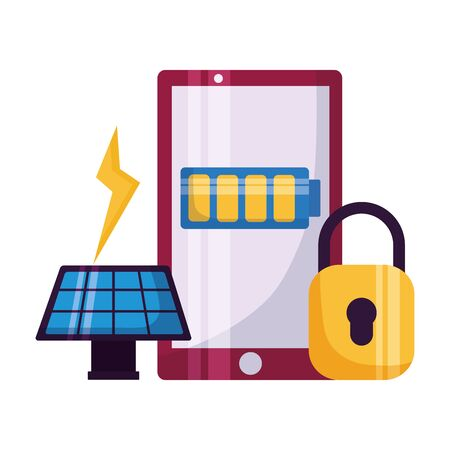 smartphone security solar panel energy vector illustration Ilustracja