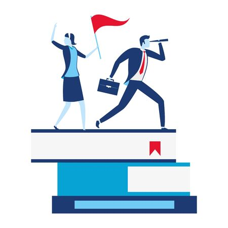 businessman and woman with telescope and flag on books business success vector illustration Archivio Fotografico - 130133893