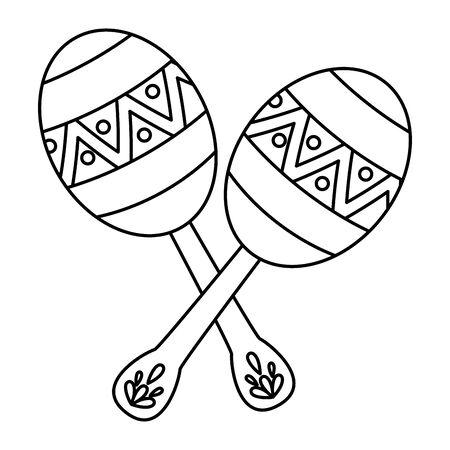 Mexikanische Maracas traditionelles Instrument Symbol Vektor Illustration Design