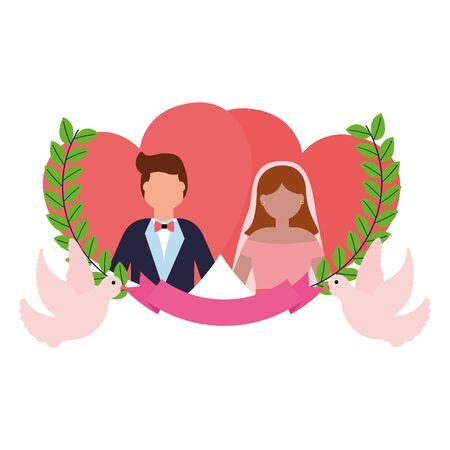 bride and groom love hearts doves ribbon wedding vector illustration Illustration