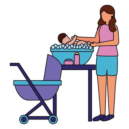 mother washing her baby in soapy water pregnancy and maternity vector illustration Zdjęcie Seryjne - 130133916