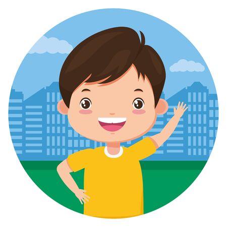 happy boy standing in the city park vector illustration Stock Illustratie
