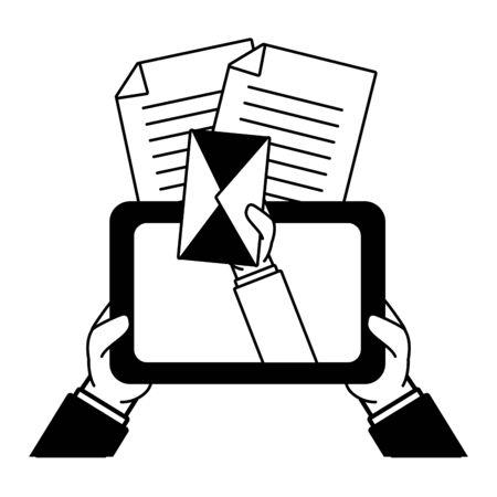 hands with tablet message envelope send email vector illustration 일러스트