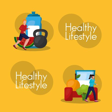 People and healthy lifestyle design, Fitness bodybuilding bodycare activity exercise and diet theme Vector illustration