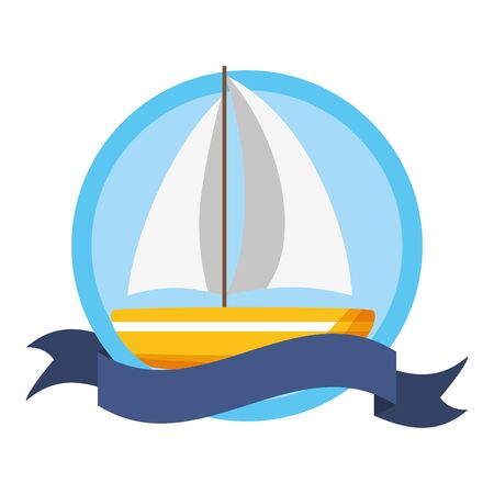 summer time poster sailing boat vector illustration