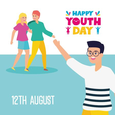 man waving hand and couple happy youth day flat design vector illustration Vector Illustratie