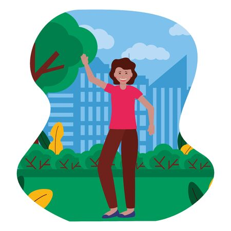 happy young woman standing in the park city vector illustration  イラスト・ベクター素材