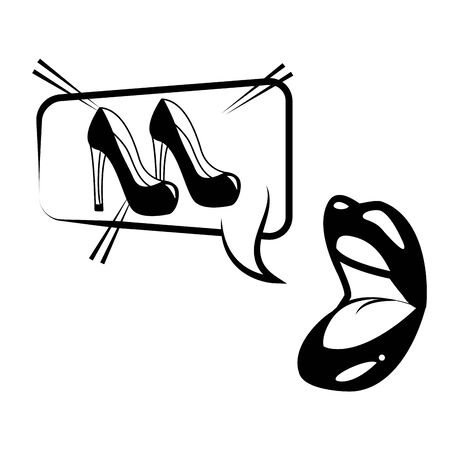 open mouth high heel shoes speech bubble pop art vector illustration