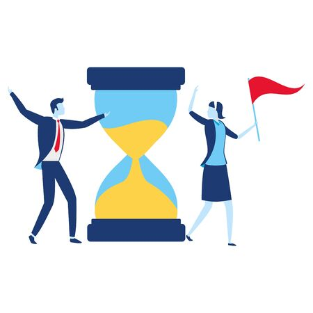 businessman and businesswoman flag hourglass vector illustration