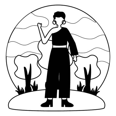 celebrating woman in the outdoors vector illustration white and black Stock Illustratie