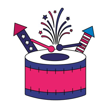 drum and fireworks american happy independence day vector illustration Stock Illustratie