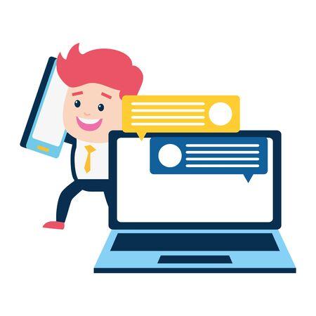 man smartphone laptop chatting online payment vector illustration