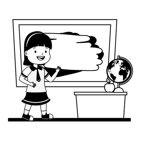 girl student chalkboard desk map apple back to school vector illustration