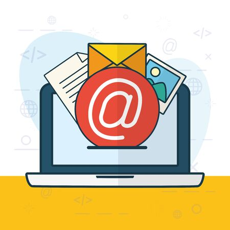 laptop mail photo send email vector illustration