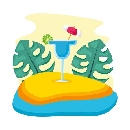 summer time holiday beach cocktail tropical leaves vector illustration 向量圖像