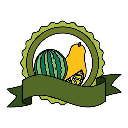 watermelon papaya lemon tropical fruits badge ribbon vector illustration