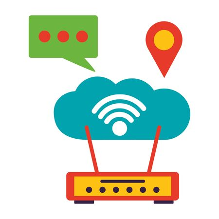 router cloud computing chat location wifi free connection vector illustration
