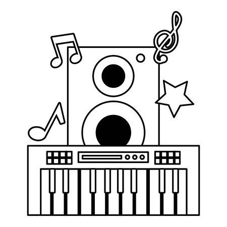 synthesizer speaker music festival on white background vector illustration Illustration
