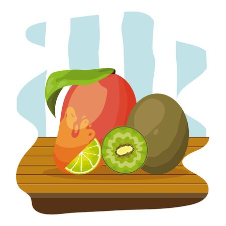 mango and kiwi tropical fruits table vector illustration