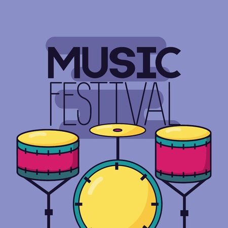 drums percussion music festival background vector illustration Çizim