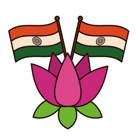 indian flags with lotus flower independence day vector illustration design Ilustracja